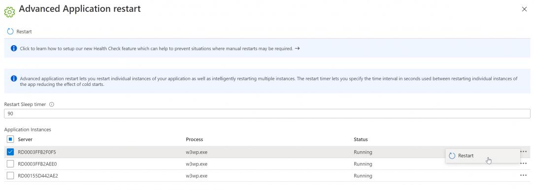 Azure Advanced Application Restart